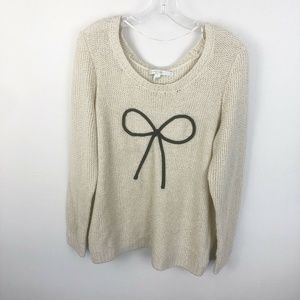 Lauren Conrad Cream Metallic Bow Sweater Large